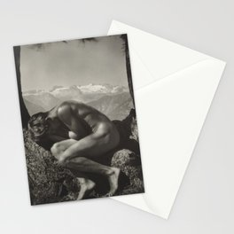 Adonis - In the Bosom of Nature - Male form artistic nude black & white photograph by Rudolf Koppitz Stationery Cards