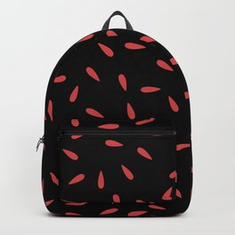Red Raindrops on Black Background Backpack
