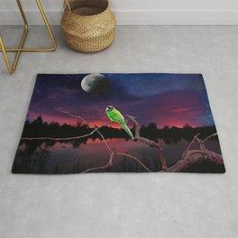 Australian Parrot Against a Night Sky Galaxy Rug