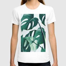 Monstera Tropical Photography Digital Art, Minimal Nature Jungle Botanical Leaves T-shirt