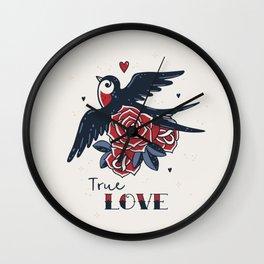 True Love | Old School Tattoo Print | Swallow And Roses Wall Clock