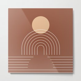 Geometric Lines in Terracotta and Beige 25 (Sun and Rainbow) Metal Print