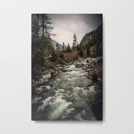 Winter Begins - River Mountain Nature Photography Metal Print