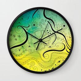Green & Yellow Swirly Floral Dream Wall Clock