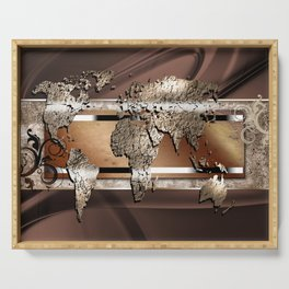 World map paint design art illustration Serving Tray