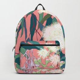 Australian Gumnut Eucalyptus Floral in White  + Dusty Peach Backpack