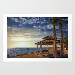 Pavilion Under Palm Tree by the Sea at Sunset Art Print