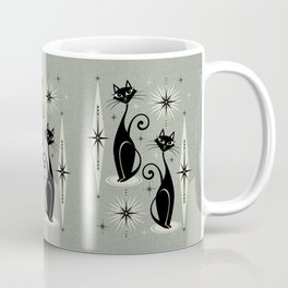 Mid Century Meow Retro Atomic Cats - Gray Coffee Mug