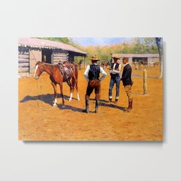 "Frederic Remington Western Art ""Buying Ponies"" Metal Print"