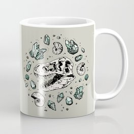 Geo-rex Vortex   Aquamarine   Dinosaur Skull Fossil Art Coffee Mug