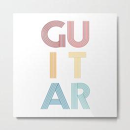 Guitar  TShirt Music Shirt Instrument Gift Idea Metal Print