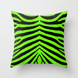 Black and Neon Green Tropical Zebra Animal Stripes Throw Pillow
