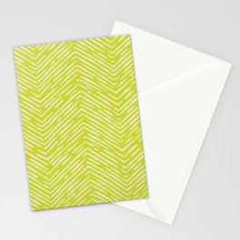 Chartreuse hand drawn pattern Stationery Cards