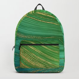 Green Mermaid Glamour Marble With Gold Veins Backpack