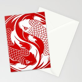 Red and White Yin Yang Koi Fish Stationery Cards