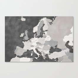 Distressed map of Europe in gray - PRINTS IN SIZES L and XL ONLY Canvas Print