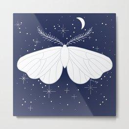 Moon moths pattern blue Metal Print