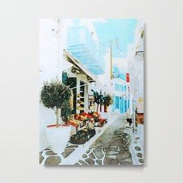 Quiet Street at MyKonos Metal Print