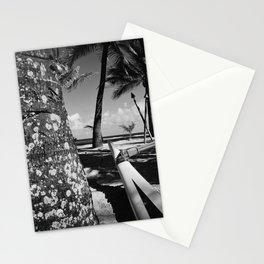 Kuau Beach Palm Trees and Hawaiian Outrigger Canoe Paia Maui Hawaii Stationery Cards