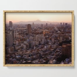 The View of Mt Fuji from the Top of Tokyo Tower Serving Tray