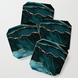 Teal Blue Emerald Marble Landscapes Coaster