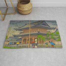 Rain in Higashi-Honganji Temple, Kyoto Asano Takeji Japanese Woodblock Print Rug