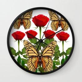 RED ROSES  & MONARCH BUTTERFLIES ART Wall Clock