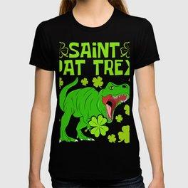 "Guys! Have This St. Patrick's Tee Saying ""Happy St. Pat T-rex Day"" T-shirt Design Irish Shamrock T-shirt"