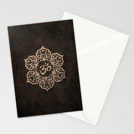 Aged Stone Lotus Flower Yoga Om Stationery Cards