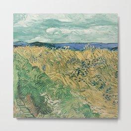 Fun Neck Gaiter Vincent Van Gogh Wheat Field With Cornflowers Neck Gator Metal Print