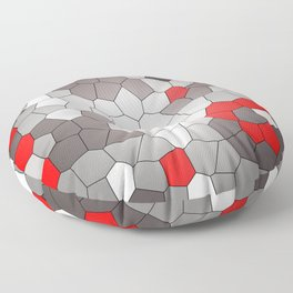 Mosaik grey white red Graphic Floor Pillow