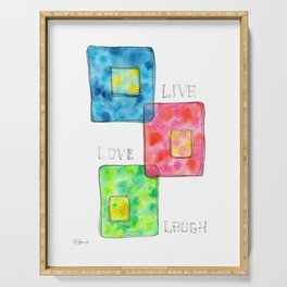 LIVE LOVE LAUGH geometric pattern illustration Watercolor Painting minimalism typography Serving Tray