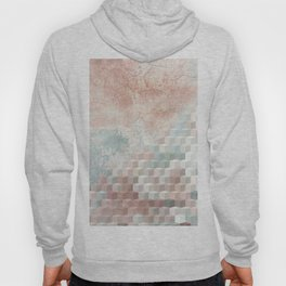 Distressed Cube Pattern - Nude, turquoise and seashell Hoody
