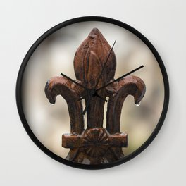 Fleur De Lis - Iron Fleur De Lis with Raindrops in New Orleans French Quarter Wall Clock