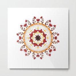 Autumn Folk Mandala White Metal Print