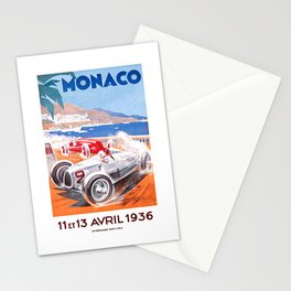 1936 Monaco Grand Prix Race Poster  Stationery Cards