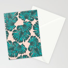 Artsy Hand Painted Green Teal Tropical Monster Leaves Stationery Cards