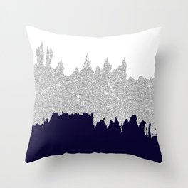 Modern Navy Blue White Silver Glitter Brushstrokes Throw Pillow