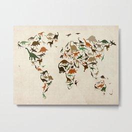 Dinosaur Map of the World Map Metal Print