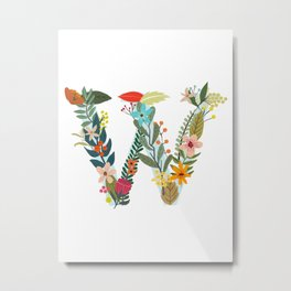 Monogram Letter W Metal Print