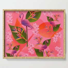 Flamingo Bird of Paradise Serving Tray