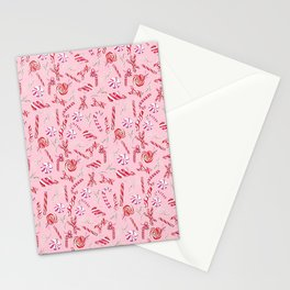 Peppermint Everything Holiday in Pink Background Stationery Cards