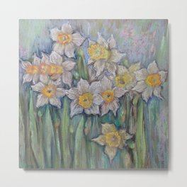 Narcissus SPRING FLOWERS IN THE GARDEN Metal Print