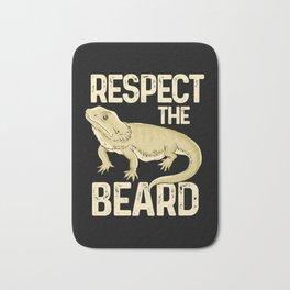 Respect The Beard - Funny Bearded Dragon Lizard Pet Illustration Bath Mat