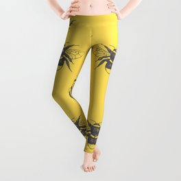 Sketched Bumblebee on Yellow - Smaller Pattern Leggings