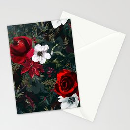 Christmas Watercolor Floral Pattern Stationery Cards