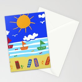 Naive Beach - Blue & Gold  Stationery Cards