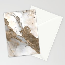 Liquid marble - pearl and gold Stationery Cards