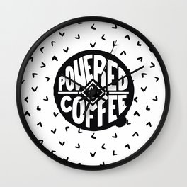 powered  by coffee two Wall Clock
