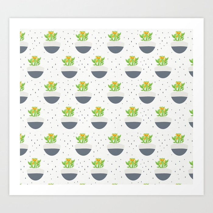 Potted Kalanchoe Plant Mom Pattern Art Print
